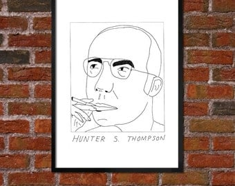 Badly Drawn Hunter S. Thompson - Literary Poster - *** BUY 4, GET A 5th FREE***
