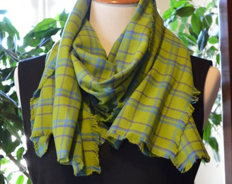 Flannel Fringed Scarf Green Plaid Ready to Ship