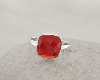 Red Garnet Quartz Ring Faceted Cushion 10mm Gemstone Ring 925 Sterling Silver Bezel Ring Jewelry - #1051