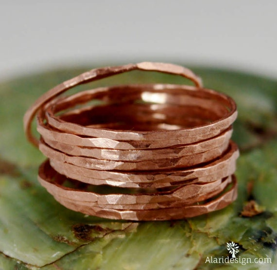 Super Thin Copper Stackable Rings Copper Ring By Alaridesign