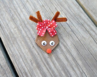 Christmas Rudolph the Reindeer Ribbon Sculpture Bow; Holiday Hair Clip