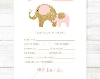 baby shower game diy elephants pink gold baby girl digital shower