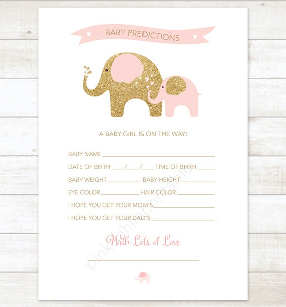 ... shower game DIY elephants pink gold baby girl digital shower games