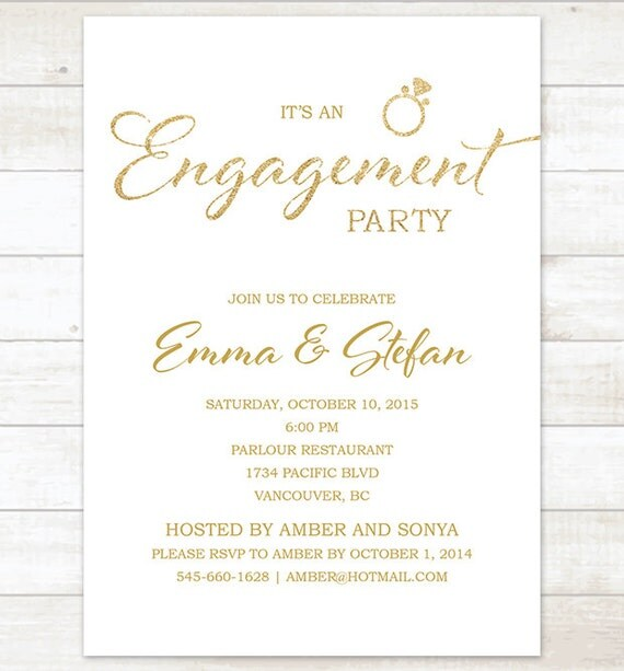White gold engagement party invitation white and gold glitter for Etsy engagement party invites