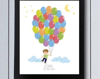 balloon birthday guest book sign in board printable pdf ideas children first years party
