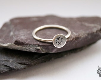 Stamped Sun Ring ~ stamped, sterling silver, gift, nature