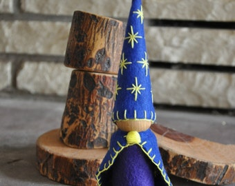 Wooden and Wool Felt Celestial Gnome– A Waldorf and Montessori Inspired Toddler Toy, Wooden Peg Doll
