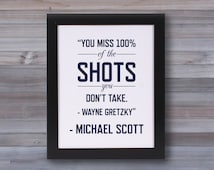 Michael Scott Quote - The Office - Wayne Gretzky Quote - Graphic Print Wall Art