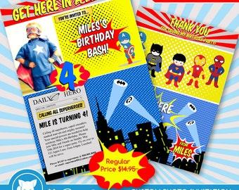 50% OFF SALE  Super Hero Invitation + Thank you Card Birthday Party / Custom Photo Digital File