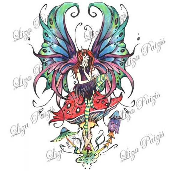 Fata Tatuaggio Disegno Stile Gotico Seduta Su Un Del
