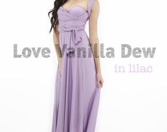 Bridesmaid Dress Infinity Dress Lilac Floor Length Maxi Wrap Convertible Dress Wedding Dress