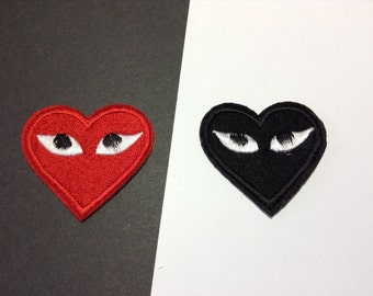 Iron on Sew on Patch:  Two Hearts (2)