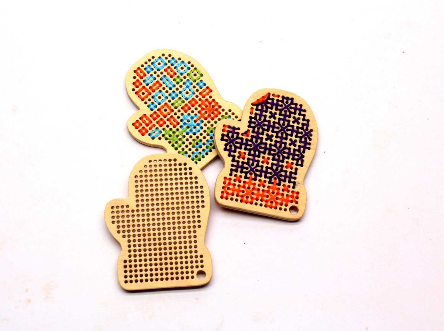Diy wooden cross stitch blanks mittens unfinished