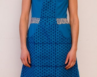SALE - 50% OFF - Amélanche: a cotton dress with nice round neckline, contrasting colors - block printed fabric - fair trade produced