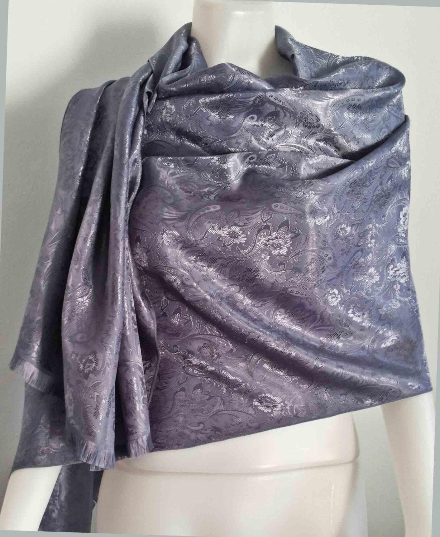 grey thai silk scarf floral vintage large silk scarf fashion