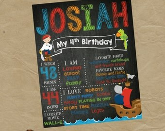PIRATE  Birthday Chalkboard Poster - Any Size - Any Age