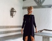 Black Asymmetric Dress - Blouse - Tunic / Black Dress / Asymmetric Plus Size Dress / Short Front Long Back Dress / #35025