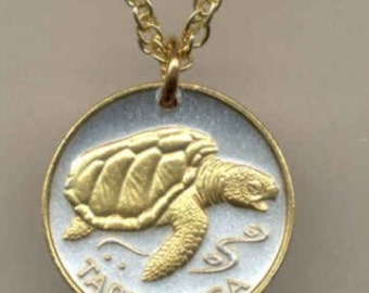 1 year anniversary or mothers day gift - Gold & Silver Cape Verde 1 escudos Sea Turtle Necklace
