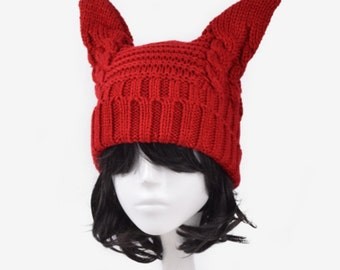 Bunny ears Hat Cute Bunny Hat Crochet Bunny Hat For Adult Women Girls Braided Knitted Hat