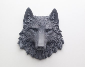 ANY COLOR or GREY Wolf Head Wall Mount // Resin Faux Taxidermy // 3d Wall Art // Nursery // Animal Sculpture // Trendy & Modern Home Decor