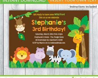 safari invitation / Safari Birthday invitation / Safari Invite / Jungle Safari Invitation / Zoo Birthday Invitation / INSTANT DOWNLOAD