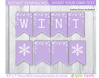 Winter Onederland Banner / Purple Winter Onederland Banner / Winter Wonderland Banner / Winter Onederland Decoration / Winter Printable