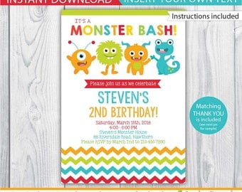 monster invitation / little monster invitation / 1st birthday monster invitations / monster invite / monster printable / INSTANT DOWNLOAD