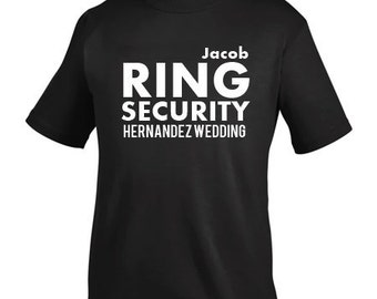 "Personalized ""RING SECURITY"" T-Shirt in Black {No Mustache} 