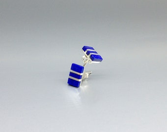 Stud earrings with Lapis Lazuli  and minimal and modern design - gift idea - AAA Grade afghan Lapis - Nickel free - natural blue gemstone