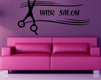 Hair Salon Wall Decals Fashion Wall Words Hairdressing Beauty Salon Wall Decor Scissors Vinyl Sticker Home Decor Vinyl Art Wall Decor KG526