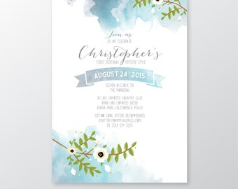 Invitation Watercolor & Calligraphy Anemone Magnolia Christening Boys Baptism Frozen Birthday Teal Blue Navy Mint Wedding PRINTED Cards