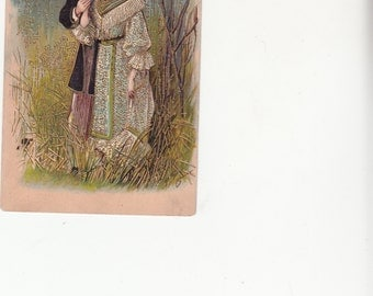 C1909 Gold Embossed Art Nouveau Romantic Couple Slightly Risque Dressed In Finery Antique Postcard