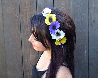 Adjustable Flower Headband - Pansy Headband - Yellow White Blue Flowers - Hippie Headband - Festivals - Raves