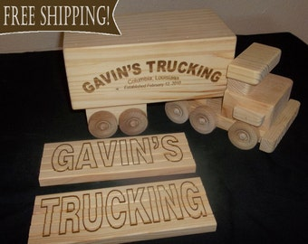 Personalized - Wooden Trucks - FREE Engraving Included - Handcrafted Wood Toy Truck & Trailer FREE next day Shipping! TOYS Customized!