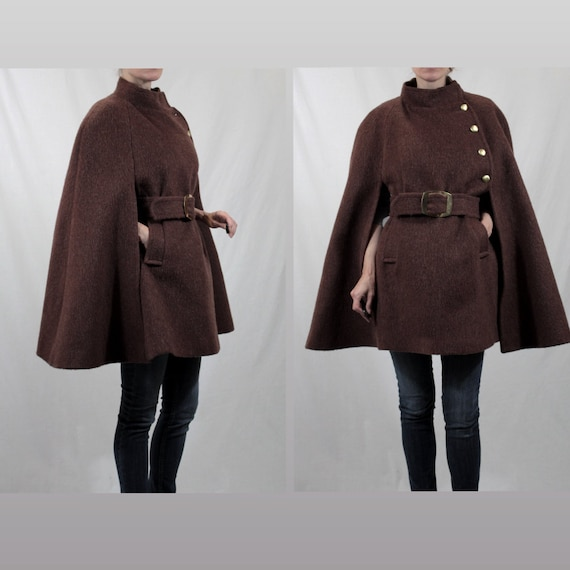 Cape Wool Cape Belted Cape Coat w/ Military Gold Buttons