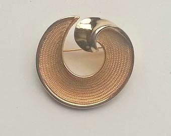 BSK Brooch, gold brooch, signed, vintage