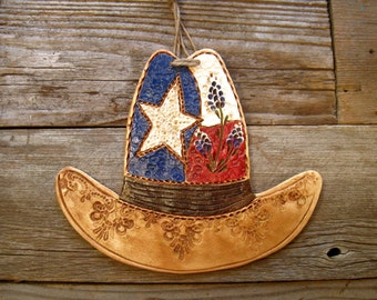Texas Bluebonnet Cowboy Hat / Rustic Western Ranch Cowboy Hat Wall Art / Texas Cowboy Hat Home Decor / Country Western Decoration / Gift