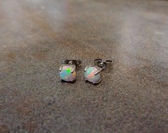 Fire Opal studs Earrings, White Opal with 316L Surgical Steel Post, hypoallergenic earrings 4mm,5mm