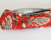 Boxed Pouch Zip Cosmetic Bag in Red with Feather Print