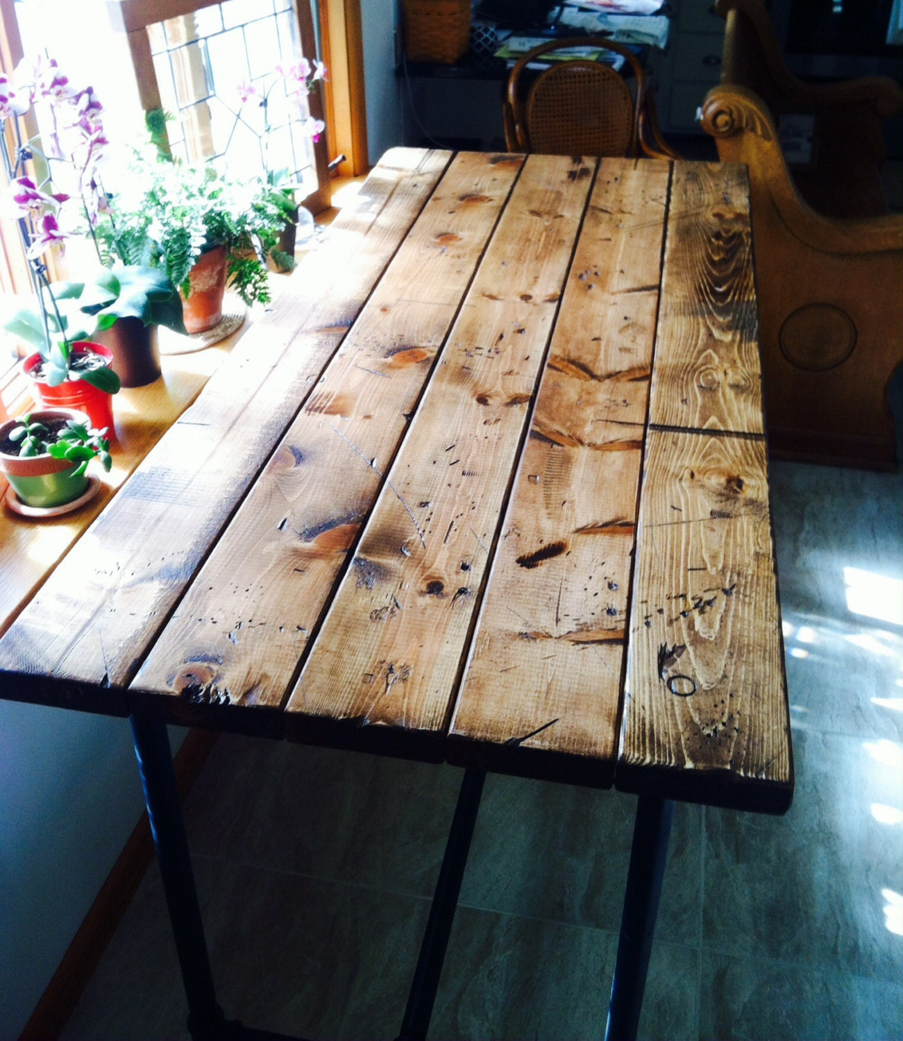 Farmhouse table style rustic island with pipe legs industrial for Rustic pipe table