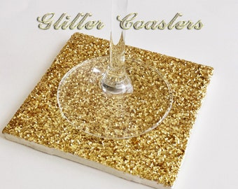 Drink Coaster, Gold Glitter Handmade Ceramic Tile Coasters, Sparkly Holiday Decor, Christmas Decor or Gifts, Wedding Favors, READY TO SHIP