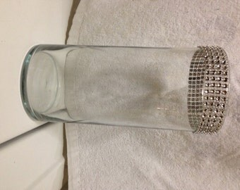 "Glass vase cylinder with rhinestone ""bling"""