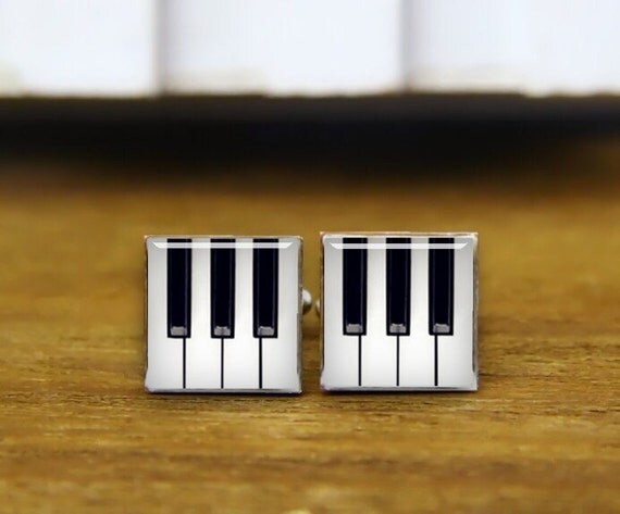 Piano cuff links, customized round or square cufflink & tie clip, custom musical instrument cufflinks, pianoforte cuff links, piano keys