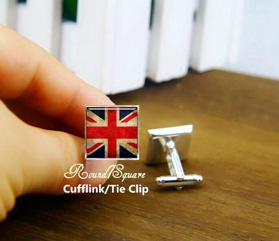 flag of the UK cufflinks, British flag cuff links, custom country flag cufflink, custom round or square cufflinks & tie clip, patriot Aigo