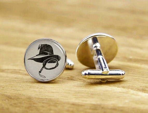 Indiana Cufflinks, Jones Hat And Whip Cuff Links, Wedding Cuff Links, Custom Movie Cuff Links, Custom Round Or Square Cufflinks, Tie Clips