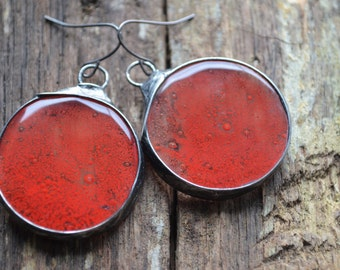 red romantic earrings bloody earrings fused glass earrings red earrings metalwork earrings statement earrings zokakurylov