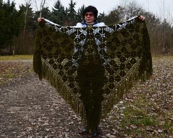 Length - top 220 cm, hand knit crochet shawl wrap - triangle shape, Russian shawl vintage style   f1.12
