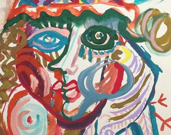 1994 Abstract expressionist gouache drawing