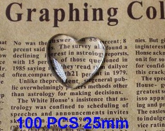 100pcs 25mm Clear Glass Heart Cabochons, clear glass tiles Glass Domes(3010374)