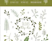 Olive Branches Clip Art, EPS and Bonus Photoshop Brushes